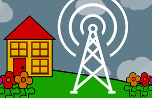 Cartoon image of house and transmitter