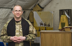 Reverend (Flight Lieutenant) Matt Buchan inside the St Michael's and All Saints Garrison Church at Camp Bastion in Helmand province, Afghanistan [Picture: Corporal Jamie Peters, Crown copyright]