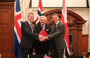 Her Majesty's Trade Commissioner to Europe, Andrew Mitchell, with Stefán Haukur Jóhannesson, Ambassador of Iceland to the UK, and Wegger Christian Strømmen, Ambassador of Norway to the UK.