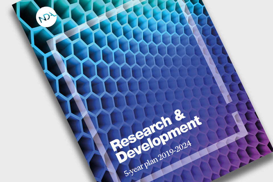 Front cover of report:  text superimposed (Research and development 5 year plan 2019 to 20124) on graphene representation