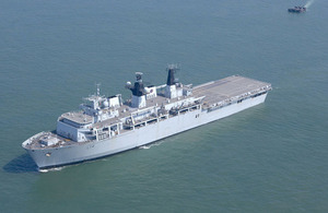 A number of Royal Navy ships will take part in Baltic Protector, including HMS Albion. Crown Copyright.