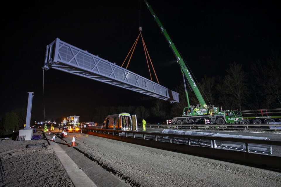 The superspan gantry being lowered into place