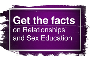 'Get the facts on relationships and sex education' logo