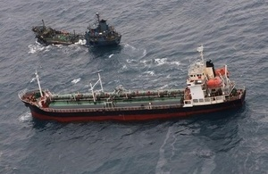 The North Korean-flagged tanker SAEBYOL, which was transmitting as a fishing boat, was spotted alongside a vessel of unknown nationality on the high seas, conducting a prohibited ship-to-ship transfer.