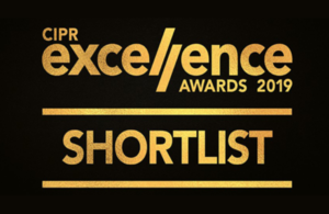 Gold text on black background 'CIPR excellence awards 2019 shortlist'.