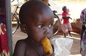 Little girl eating an orange sweet potato