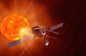 Artist impression of Solar Orbiter in space approaching the sun