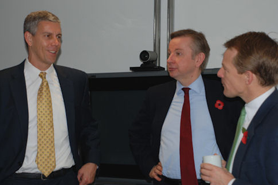 US Education Secretary Arne Duncan, Education Secretary Michael Gove and David Laws MP