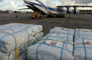 Image of UK aid being delivered by aircraft