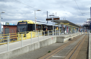 A Manchester Metrolink tram at Ashton-under-Lyne