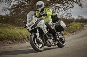 A BikeSafe Ducati, supported by Highways England.