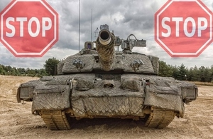 Tank with stop sign
