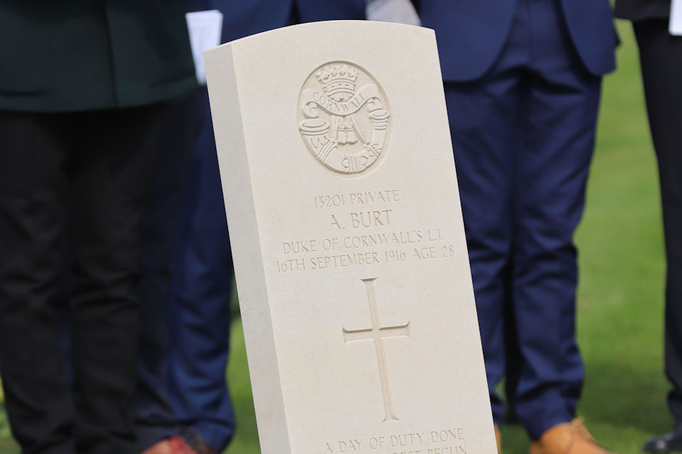 The headstone of Private Burt, Crown Copyright, All rights reserved