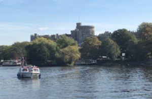 The River Thames with a boat on the water