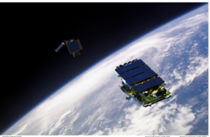 Artists impression of NovaSAR and Carbonite-2 in Low Earth Orbit. Credit: SSTL, NASA