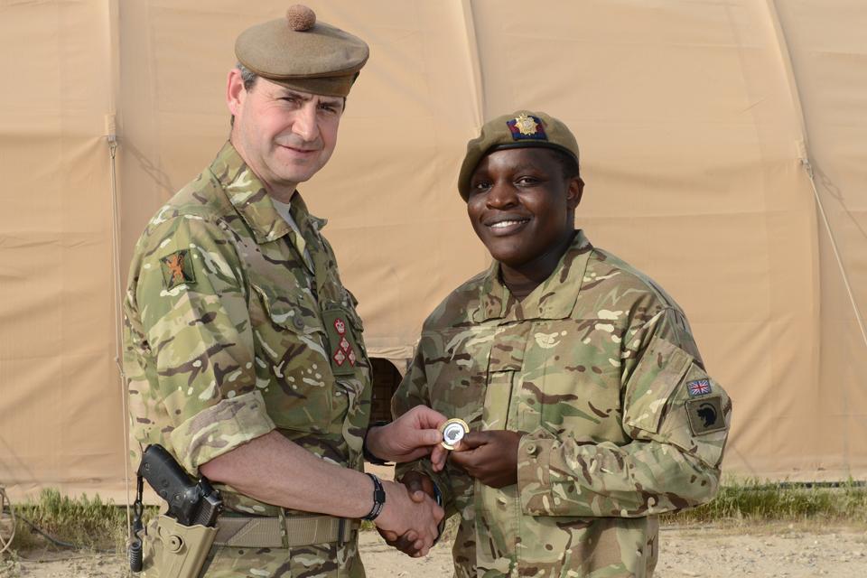 Lance Corporal Kennedy Mutonga Muia with Brigadier Bob Bruce