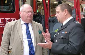 Eric Pickles with the Borough Commander for Edmonton