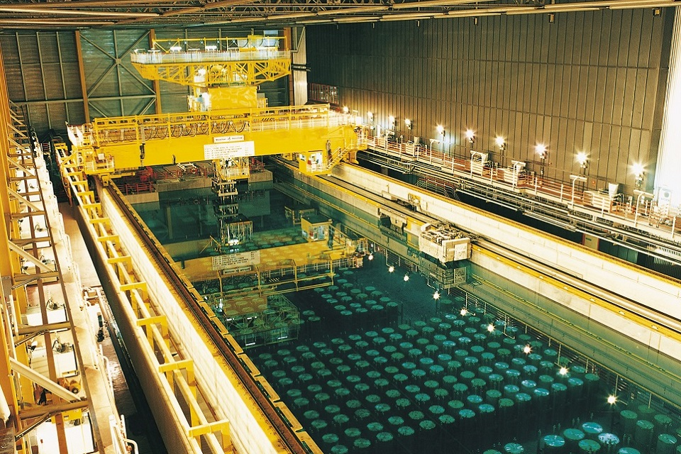 Spent fuel canisters stored under water at Sellafield