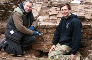 Historic Environment Advisor Phil Abramson and Captain Paul Johnstone-Armstrong on the site of the Roman building in Caerwent [Picture: Crown copyright]