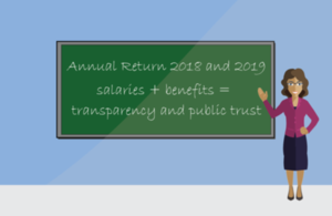 "Information board stating ""Annual return 2018 and 2019. Salaries + benefits = transparency and public trust""."