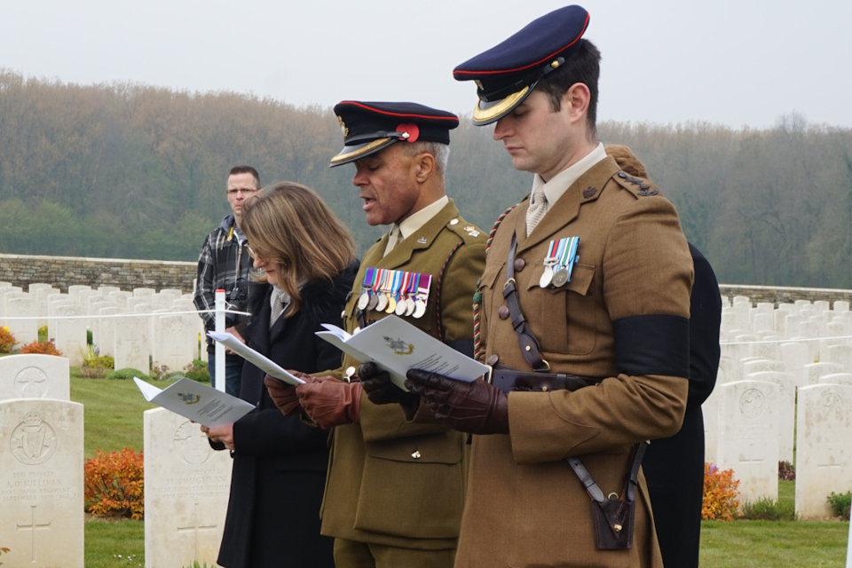Capt Benedict Griffiths and Lt Col Ret'd Dominic Hancock participate in the burial service of the unknown Sherwood Forester at Guillemont Road Cemetery, Crown Copyright, All rights reserved