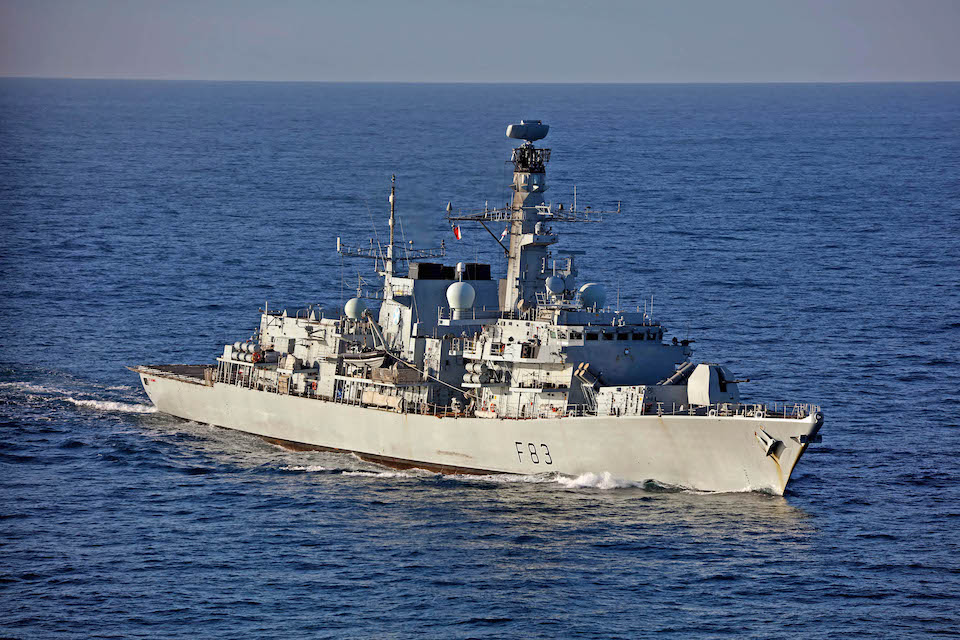 Royal Navy ship HMS St Albans out at sea