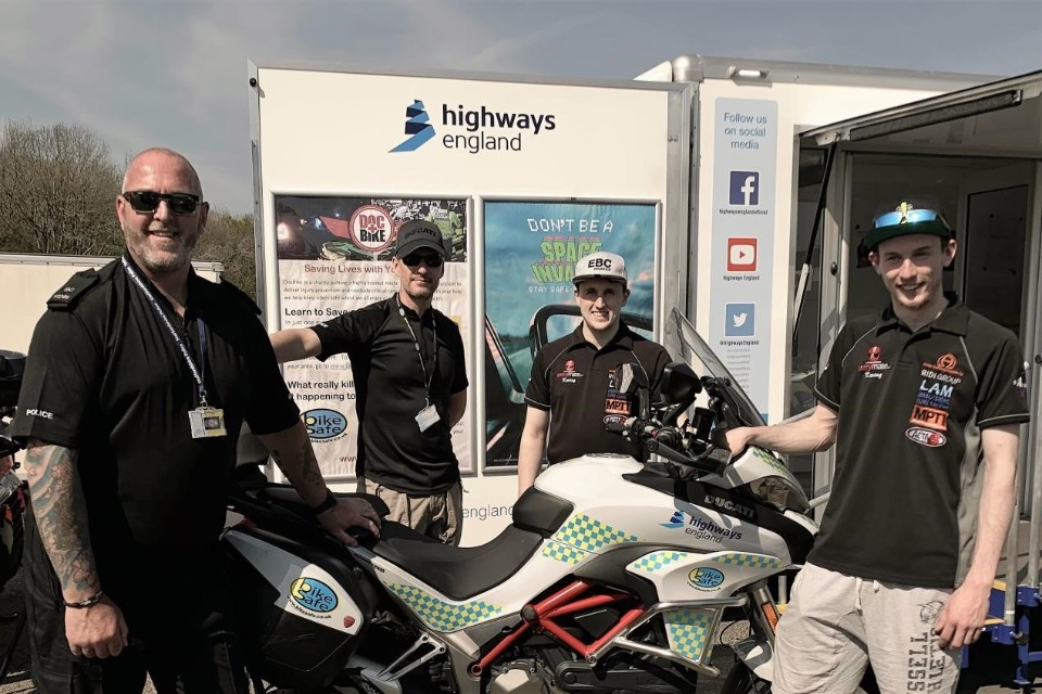 Riders Matt and Kurt Wigley check out a BikeSafe Ducati with Special Constable Jason Leadbetter and Sgt Rob Gilligan at the Highways England stand