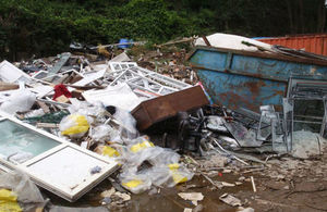 Some of the waste that Mr Lack dumped on land at Cliffe Road, Easton on the Hill