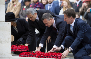 Armed Forces Minister Mark Lancaster lays a wreath at the Cenotaph. Crown Copyright, All rights reserved.
