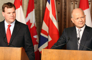 Canadian Foreign Affairs Minister John Baird and Foreign Secretary William Hague