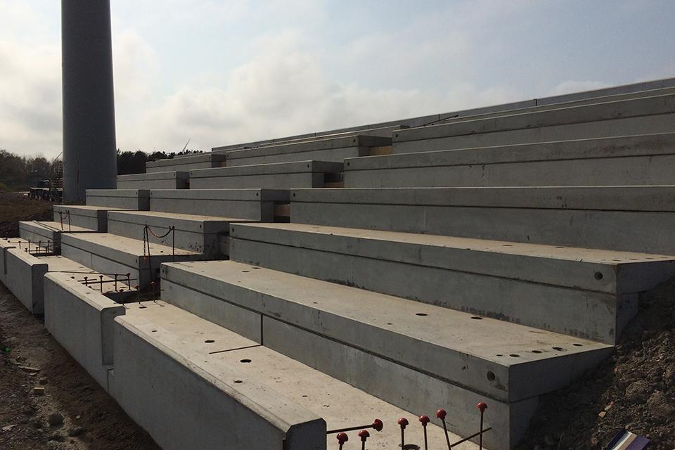 A new cascade being built at Lynemouth mine water treatment scheme