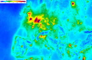 An image of air pollution over Europe