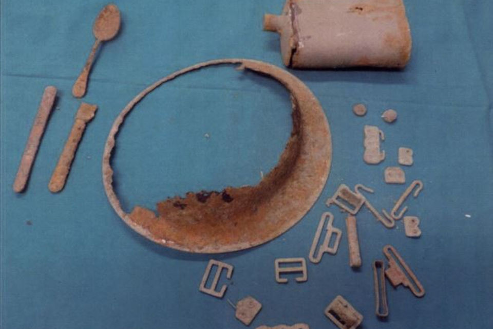 Artefacts found with the remains, Crown copyright, All rights reserved