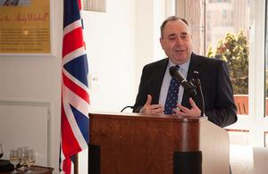 Rt Hon Alex Salmond MSP, First Minister of Scotland, gives a speech.
