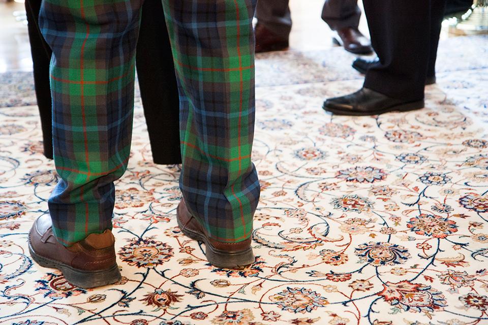 Tartan pants against the carpet at the British Residence