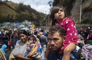 Venezuelans at the Ecuadorian border with Colombia, August 2018. Picture: UNICEF