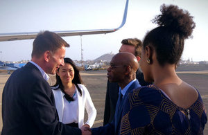 Jeremy Hunt shakes hands with the Moses Anibaba, the British Council's Regional Director for Sub-Saharan Africa.