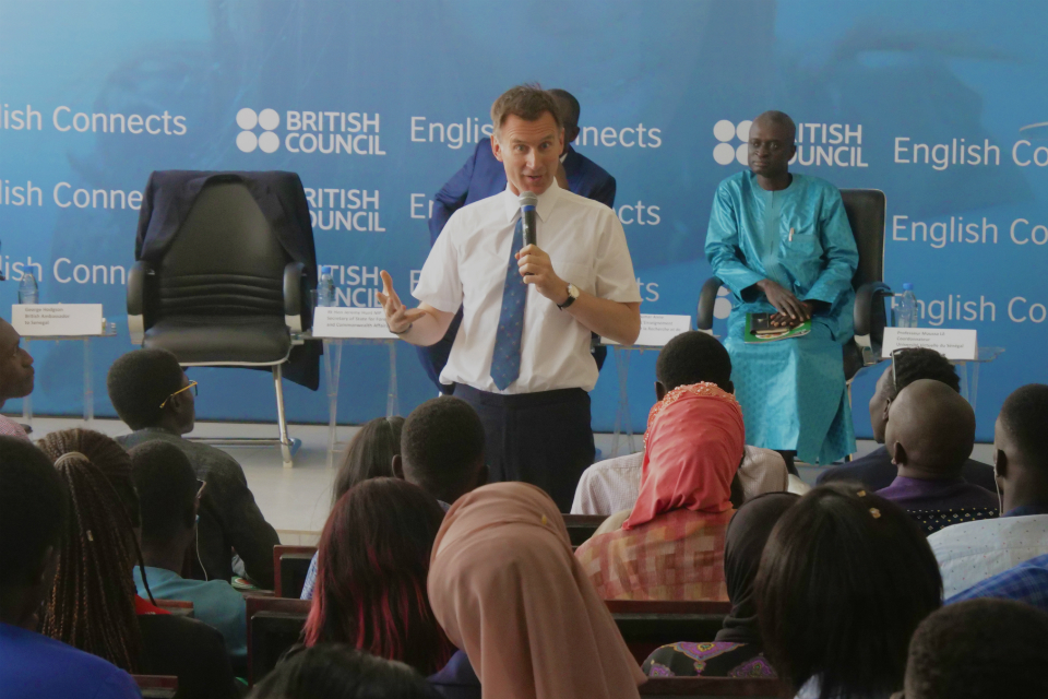 Jeremy Hunt speaking to a large audience at the launch of English Connects