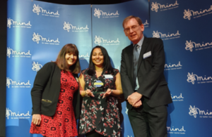 Jan Sensier (deputy director), Jaz Deo (mental health project manager) and Alan Eccles (Public Guardian) at the Mind awards.