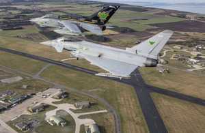 Image shows an RAF Tornado flying alongside RAF Typhoons over Morayshire and RAF Lossiemouth. Crown Copyright.