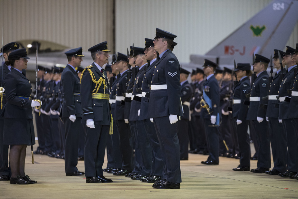 Image shows Chief of Air Staff, Air Chief Marshal Sir Stephen Hillier, and RAF personnel at a ceremony to mark a fourth Quick Reaction Alert Squadron based out of RAF Lossiemouth. Crown Copyright.