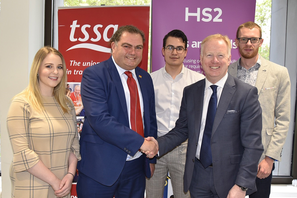 Manuel and Mark with HS2 apprentices.