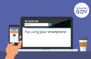 Graphic of smartphone paying for GOV.UK online service.