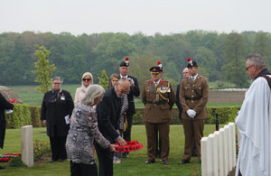 Colin Foskett (Fredericks great nephew) and his wife Carol Foskett lay a wreath at his grave during yesterday's ceremony, Crown Copyright, All rights reserved.