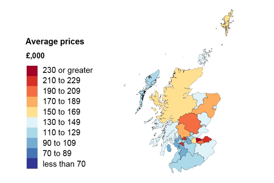 A heat map showing the average price by local authority for Scotland.