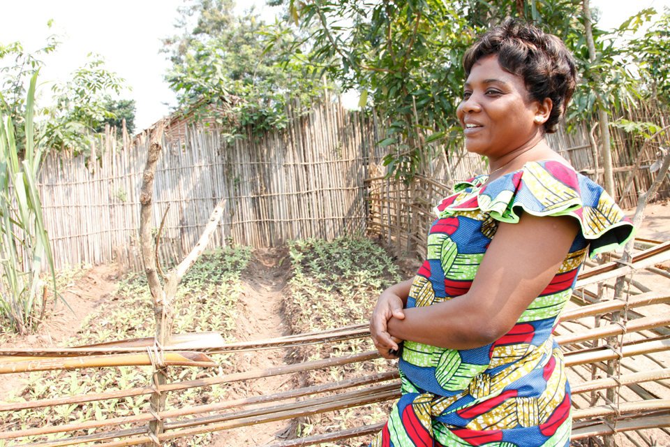 Administrator of Masi Manimba, Anne Mbusu, in the garden of her home. Picture: Russell Watkins/DFID