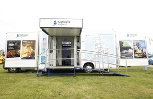 The mobile visitor centre opens into a larger exhibition that features displays and presentations.