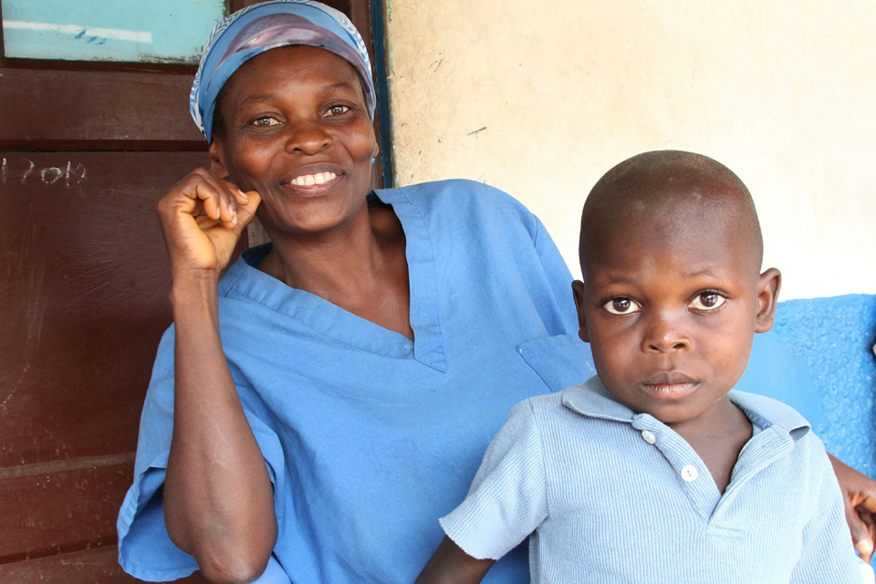 Nurse Tecle Motomobile and her son, who was treated for malnutrition by Action Against Hunger. Picture: Russell Watkins/DFID