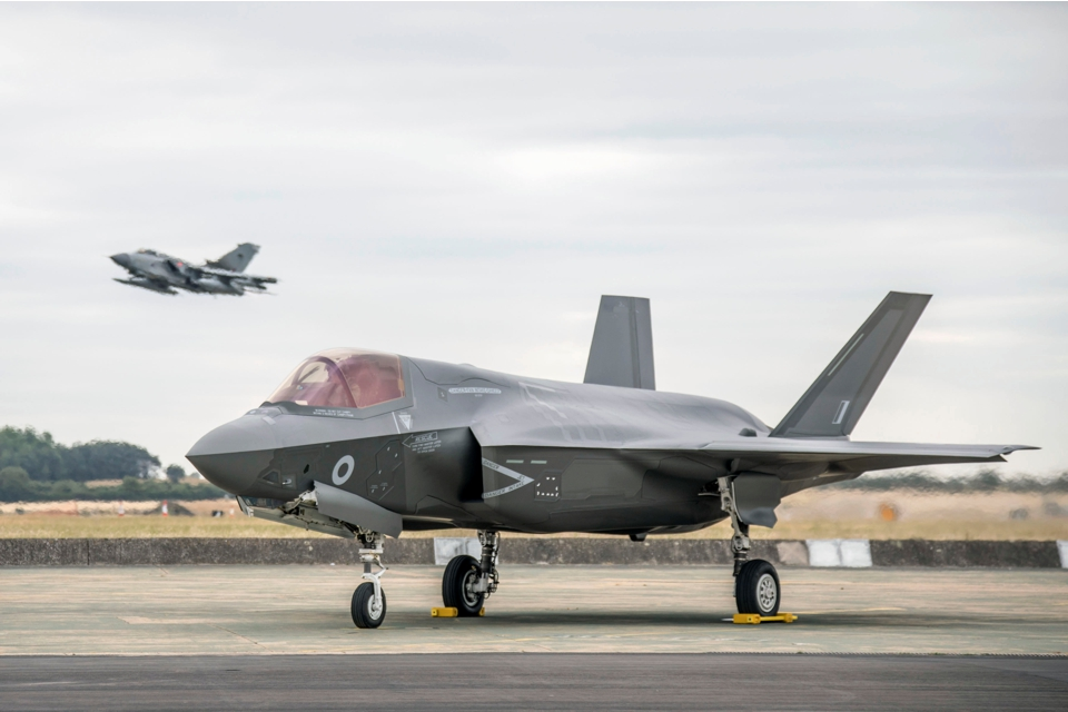 Image of a Joint Service Lockheed-Martin F35B Lightning II. MOD Crown Copyright.
