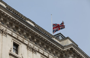Flag at half-mast at the Foreign and Commowealth office